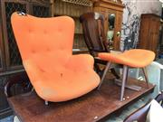 Sale 8863 - Lot 1099 - Featherston Style Chair & Foot Stool (2)