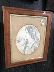 Sale 8903 - Lot 2086 - Lady with Flowers, pencil