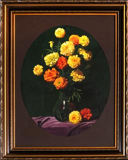 Sale 9099A - Lot 5069 - Bruno Cengarle (1921 - 2002) - Vase of Mixed Daisies 35 x 27.5 cm (frame: 52 x 42 x 3 cm)