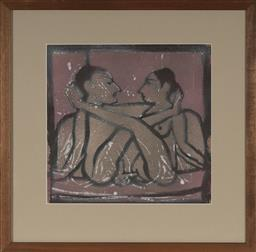 Sale 9101 - Lot 2021 - Andrew Sibley (1933 - 2015) Untitled (Lovers), 1987 linocut, frame: 47 x 47cm, signed and dated -