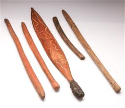 Sale 9122 - Lot 89 - An Aboriginal Woomera (L:85cm), Together With Four Clubs