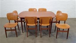 Sale 9171 - Lot 1081 - Vintage teak dining table with 8 upholstered chairs (h:72 x w:152 x d:82cm)