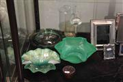 Sale 8022 - Lot 59 - Art Glass Wares incl 3 Green Bowls 2 Signed Vases and Jug
