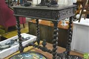 Sale 8345 - Lot 1081 - Late 19th Century Oak Side Table, the frieze drawer carved with grape vines & branch handle, on barley twist supports & stretcher