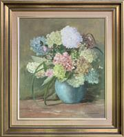Sale 8668 - Lot 2013 - Judy Anne Everingham - Hydrangeas, oil on canvas board, 71 x 61.5cm (frame size), s.l.r