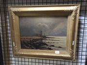 Sale 8824 - Lot 2035 - Artist Unknown (C19th) Coastal Scene and Castle oil on canvas on board, 33 x 40cm, signed and dated 23/11/97 -