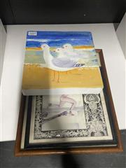 Sale 8981 - Lot 2089 - Two framed prints together with a small work on canvas, signed lower right