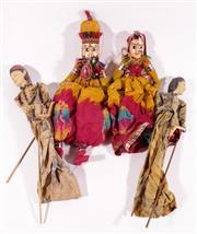 Sale 9010D - Lot 749 - A Pair of Indonesian Marionettes Together with SA Pair of Indian Examples