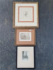 Sale 9036 - Lot 2083 - A good Group of (3) Early Prints incl. James Swann Chicago Landmark, Winterscene of Bridge byb Rutmaster and Antique Print from Benj...