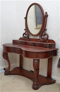 Sale 9080H - Lot 82 - A Victorian mahogany duchess mirror back dressing table with three drawers over carved legs, Height 149cm x Width 120cm x Depth 58cm