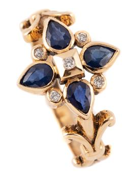 Sale 9145 - Lot 372 - A 9CT GOLD SAPPHIRE AND DIAMOND RING; quatrefoil cluster set with 4 marquise cut blue sapphires and 5 round brilliant cut diamonds t...