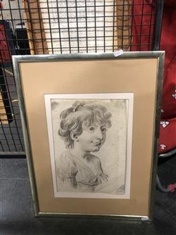 Sale 9176 - Lot 2177A - Sketch of a 19th century young girl