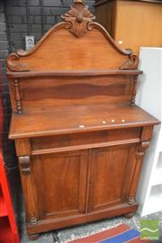 Sale 8291 - Lot 1097 - Victorian Mahogany Inlaid Chiffonier, with shelf, long drawer and two panel doors flanked by Pilasters