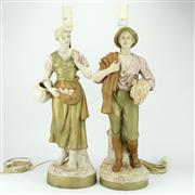 Sale 8342B - Lot 20 - Royal Dux Pair of Figural Bedside Lamps
