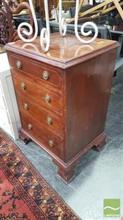 Sale 8338 - Lot 1648 - Mahogany inlaid 4 drawer chest on bracket feet