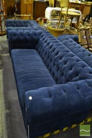 Sale 8472 - Lot 1060 - Blue Velvet Upholstered Three Piece Lounge Suite incl. Pair of Two Half Seaters & Armchair