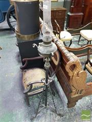 Sale 8539 - Lot 1012 - Edwardian Copper & Iron Kerosene Floor Lamp, the font resting on a turned stand with three supports