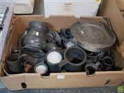 Sale 8563T - Lot 2493 - Box of Early Pewter Plates, Measures & Tankards incl Cocks, London