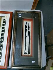Sale 8582 - Lot 2084 - Framed Pair of Wooden Carved African Statues