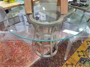 Sale 8637 - Lot 1037 - Round Glass Top Occasional Table on Timber Base