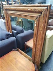 Sale 8669 - Lot 1044 - Rustic Timber Framed Bevelled Edge Mirror (146 x 130cm)