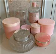 Sale 8510A - Lot 92 - A small quantity of bathroom wares including glass and Alabaster including vintage Elizabeth Arden