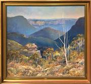 Sale 8726 - Lot 2002 - David Hill - Ruined Castle & Jameson Valley, Blue Mts 1984, oil on board, 78 x 90cm, signed, dated and inscribed verso -