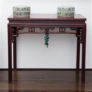 Sale 8782A - Lot 24 - A Chinese Console table with allround carved apron. Height 84 x 96 x 46cm.
