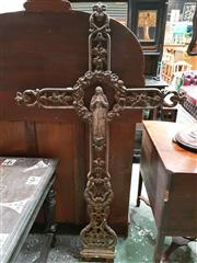 Sale 8956 - Lot 1021 - 19th Century French Cast Iron Crucifix, with the Virgin Mary to center with a floral wreath aura, below the monogram for Ave Maria....