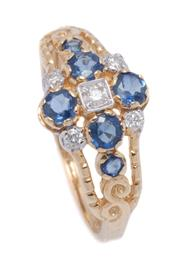 Sale 9012 - Lot 367 - A VICTORIAN STYLE SAPPHIRE AND DIAMOND RING; set in 9ct gold with 5 round brilliant cut diamonds and 6 round cut blue sapphires, siz...