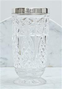 Sale 9090H - Lot 47 - A footed Crystal celery vase with a hallmarked sterling silver rim, Height 19cm