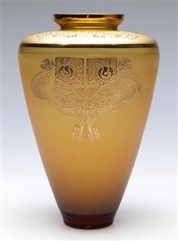 Sale 9098 - Lot 51 - A Czech Republic made amber coloured glass vase with gilt decorations