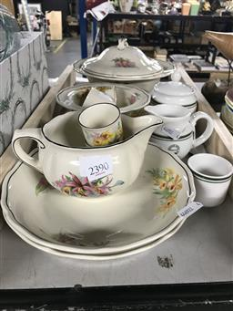 Sale 9106 - Lot 2390 - Royal Doulton Orchid Tureen, Egg Cups, Bowls, Jug & Saucers with For Raffles Hotel Green Stripe Sugar Bowl, Creamer & Egg Cup
