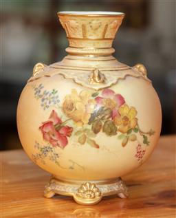 Sale 9120H - Lot 157 - A Royal Worcester blush bulbous vase with floral decoration, with pius mark, c.1897, Height 12cm