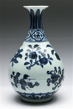 Sale 9175 - Lot 43 - Chinese Blue and White Vase Decorated With Fruiting Branches (H:33cm)