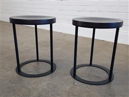 Sale 9174 - Lot 1064 - Pair of modern round side tables (h46 x d37cm)