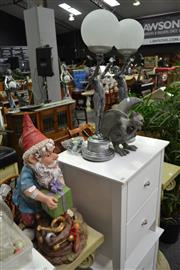 Sale 8117 - Lot 994 - Pair of Deco Style Lamps w Gnome & Grotesque