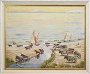 Sale 8286 - Lot 559 - Norman Lloyd (1887 - 1983) - Droving Spanish Fighting Bulls along the Iberian Coast 70 x 90cm