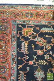 Sale 8282 - Lot 1035 - Persian Possibly Hamadan Wool Carpet, with arabesques on dark blue field (200x200)
