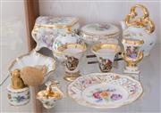 Sale 8369A - Lot 24 - A group of Dresden & Limoges floral and gilt wares including jewellery boxes and pin dishes