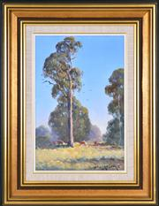 Sale 8389 - Lot 505 - Leonard Long (1911 - 2013) - River Gums Tocumwal, NSW, 1992 29.5 x 19.5cm