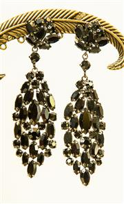 Sale 8420A - Lot 88 - A pair of collectible vintage signed Sherman jet black rhinestone clip-on dangle earrings, condition: excellent, drop 9cm
