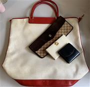 Sale 8510A - Lot 93 - Vintage Gucci to include an oversized tote, suede clutch, cream leather purse and a black coin purse, all stamped Gucci made in Italy