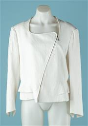 Sale 9027F - Lot 66 - A Carla Zampatti zip up peplum blazer in white cotton blend fabric. size 14