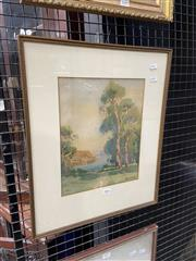 Sale 9072 - Lot 2088 - Erik Langker, Boatshed From Park, watercolour (af - tear to upper right), frame: 48 x 39 cm, signed lower right -
