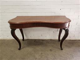 Sale 9097 - Lot 1100 - Victorian Cedar Bow Front Hall Table, on carved cabriole legs (h:72 x w:127 x d:58cm)