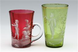 Sale 9098 - Lot 325 - Mary Gregory pink mug (H8.5cm) and green tumbler (H10cm)