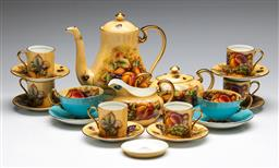 Sale 9175 - Lot 230 - An Aynsley Orchard Gold Six Person Coffee Suite
