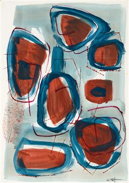 Sale 9244A - Lot 5093 - ARTIST UNKNOWN Abstract mixed media on paper 42 x 29 cm (frame: 55 x 42 x 3 cm) initialled and dated lower right
