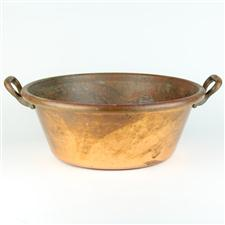 Sale 8351A - Lot 11 - French Copper Preserving Pan diameter 40cm depth 15cm(approx weight 4kg)